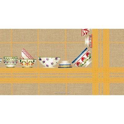Nappe en kit bols à carreaux jaunes 180x180 à broder au point de croix compté de Le Bonheur Des Dames