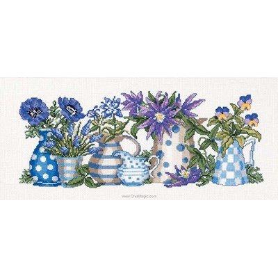 Kit tableau Permin point de croix les fleurs bleues