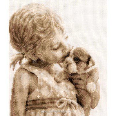 La broderie la fillette et son chiot de Vervaco