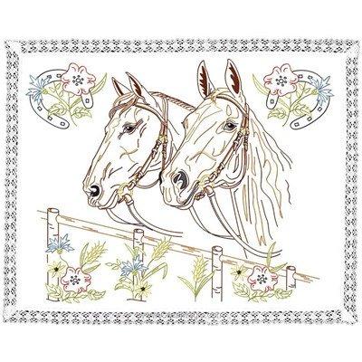 Kit napperon les chevaux en broderie traditionnelle de Luc Création