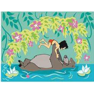 Canevas baloo et mowgli dans l'eau - disney de DMC