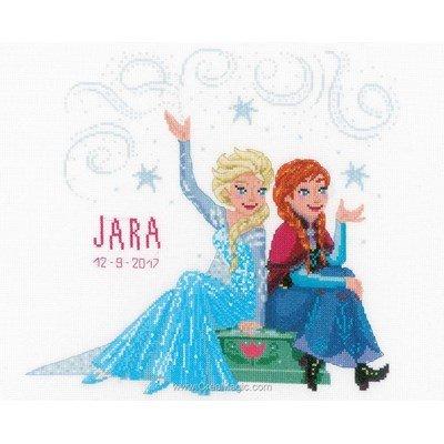 Reine des neiges disney - frozen soeurs tableau prénom bébé à broder - Vervaco