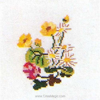 Tableau point de croix Thea Gouverneur daisys sur lin