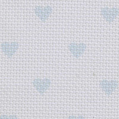 Toile aida 5.5 pts imprimée bleu coeurs à broder - DMC