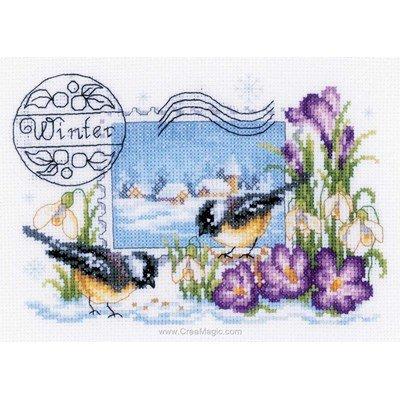 Kit à broder au point de croix timbre hiver - Vervaco