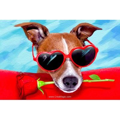 Kit broderie diamant dog & rose de Diamond Painting