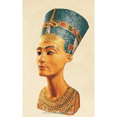 Nefertiti sur lin broderie au point de croix - Thea Gouverneur