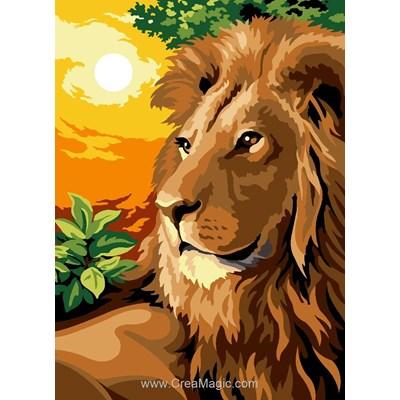 Canevas SEG le lion au coucher de soleil