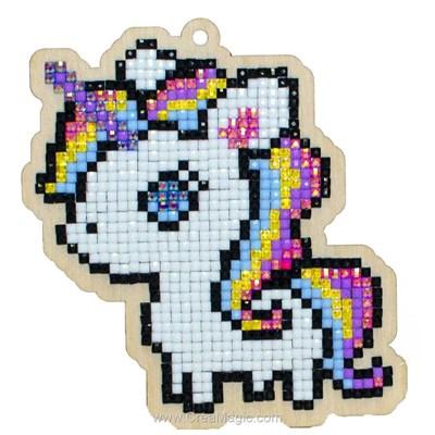 Broderie diamant petit poney arc en ciel - Wizardi