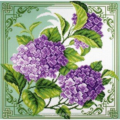 Broderie imprimée aida Collection d'art hortensias hydrangea
