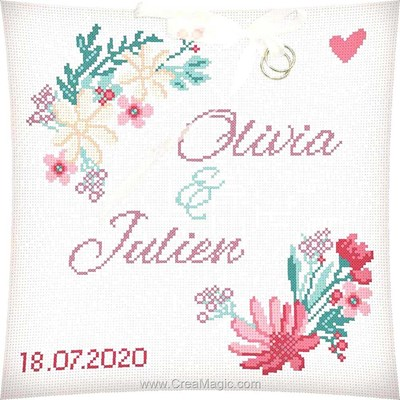 Coussin à broder au point de croix compté kit coussin de mariage fleurs des champs - Princesse