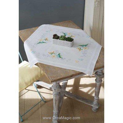 Nappe en kit Vervaco au point de croix imprimé fleur et papillons messa