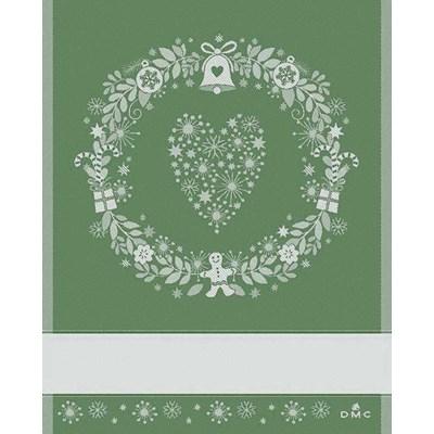 Torchon coeur de noel - vert à broder DMC