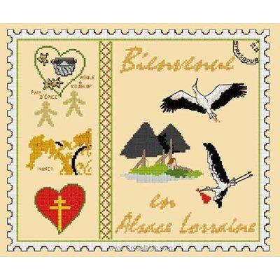 Point de croix d'Aux 4 Points Du Monde à broder timbre bienvenue en alsace lorraine