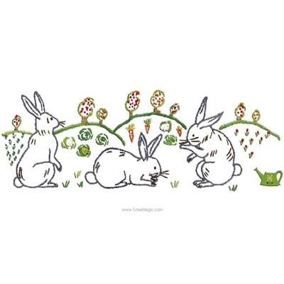 Broderie imprimée en kit Au Fil De L'Ange frise lapin au champ