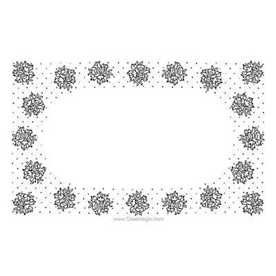 Kit napperon à broder plumetis de roses en points de broderie de Luc Création NPR355