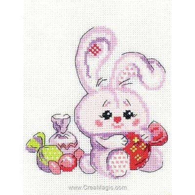 Mini kit broderie lapin et les bonbons de RIOLIS