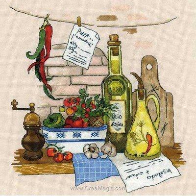 Huile d'olive et piment broderie de RIOLIS au point de croix