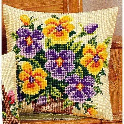 Kit coussin point de croix pensées jaunes et violettes - Vervaco
