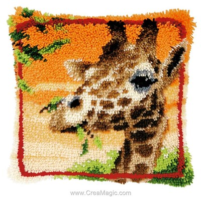 Coussin point noué Vervaco girafe et acacia