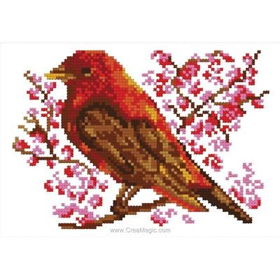 Broderie de Luc Création au point de croix oiseau de printemps