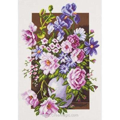 Kit broderie imprimée bouquet rose et violet sur aida - Collection d'art