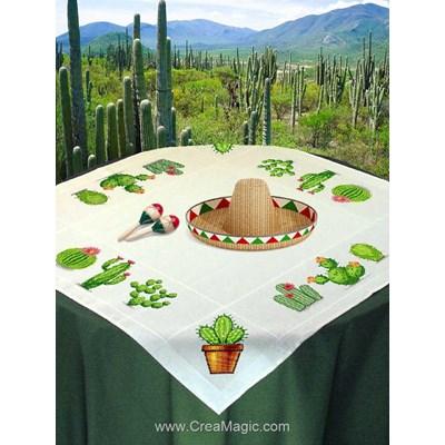 Nappe en kit Mimo Verde cactus à broder au point de croix compte