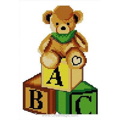Mini kit broderie abc ourson - Luc Création