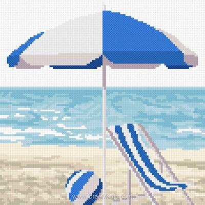 Modèle broderie point de croix Marie Coeur bord de mer bleu