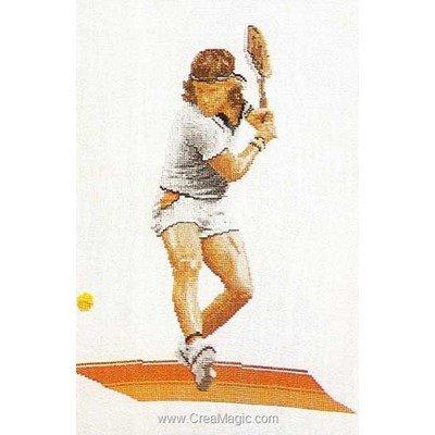 Joueur de tennis sur aida kit broderie - Thea Gouverneur