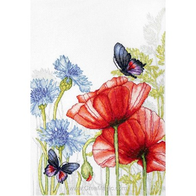 Broderie point de croix Luca-S papillons coquelicots et chardons moderne