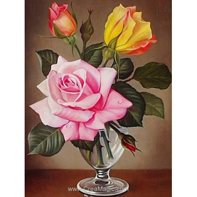 Kit broderie diamant roses in cup - Diamond Painting