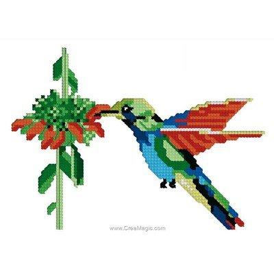 Mini point de croix en kit vol de colibri - Luc Création