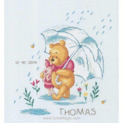 Kit broderie baby naissance Vervaco winnie sentimental - walt disney