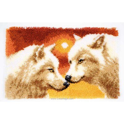 Tapis point noué loups au clair de lune - Vervaco