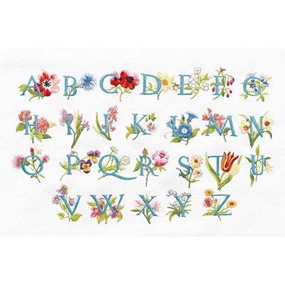 Kit broderie imprimée abécédaire fleurs de DMC