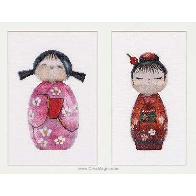 Kokeshi dolls sur lin broderie point compté - Thea Gouverneur