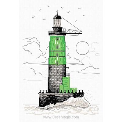 Tableau broderie point de croix phare vert de Marie Coeur