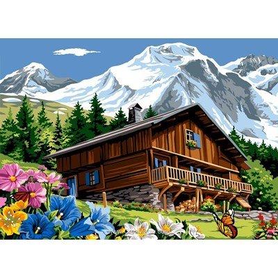 Le chalet dans la montagne ensoleillé canevas - SEG