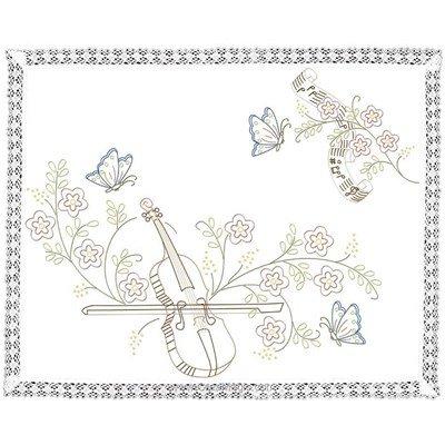 Kit napperon violon et papillons en broderie traditionnelle Luc Création