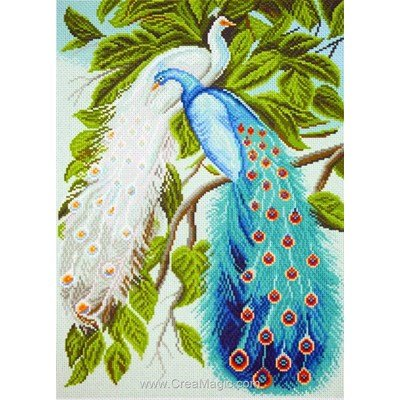Kit broderie imprimée aida Collection d'art deux paons peacocks