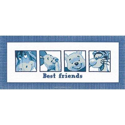 Broderie en point compté portrait de winnie et ses amis bleu de disney - Vervaco
