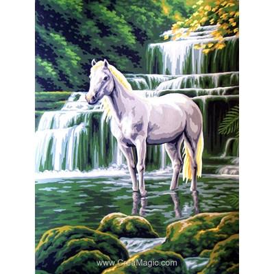 Collection d'art canevas cheval blanc à la cascade