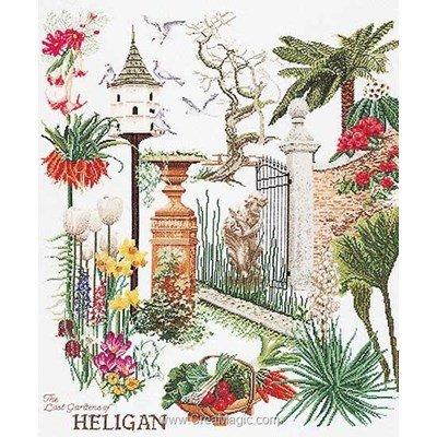 Modèle point de croix Thea Gouverneur heligan garden sur lin