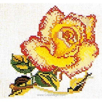Modèle broderie point de croix rose yellow-pink sur lin de Thea Gouverneur