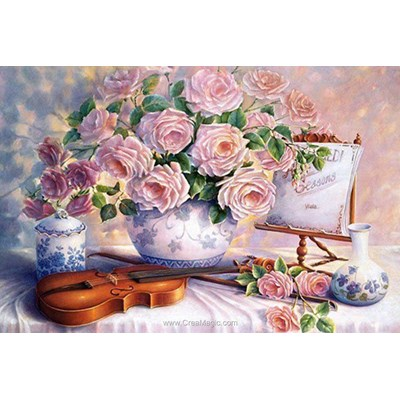 Broderie diamant roses & violin de Diamond Painting