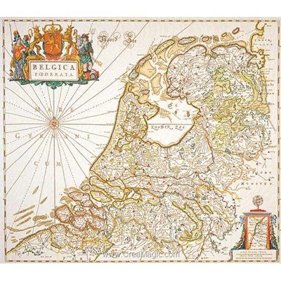 Dutch antique map sur lin modèle point de croix - Thea Gouverneur