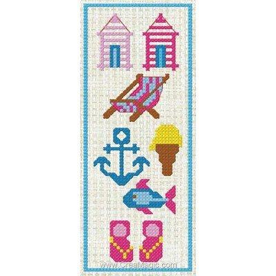 Marque page symboles d'été à broder de Luc Création