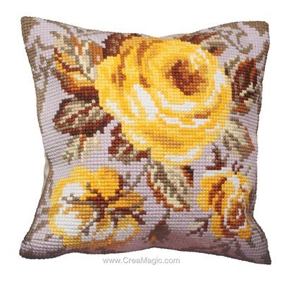 Kit coussin au point de croix rose antique de Collection d'art