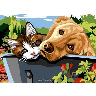 Chat et labrador dans la brouette canevas de Margot